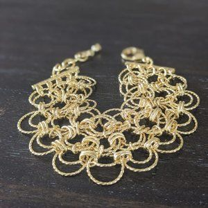 Moda di Pietra 18k Goldplated Double Ring Bracelet